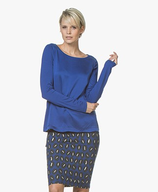 Kyra & Ko Amber Long Sleeve with Silk Front Panel - Cobalt