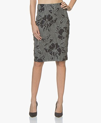 Kyra & Ko Famke Brocade Jacquard Pencil Skirt - Grey
