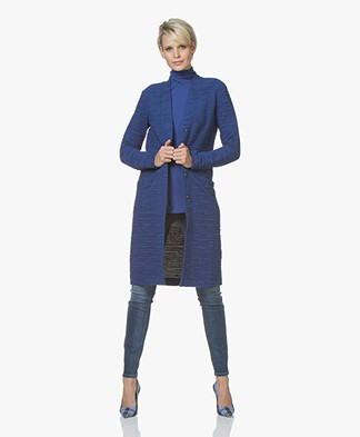 Kyra & Ko Feline Ottoman Rib Jersey Blazer Cardigan - Cobalt