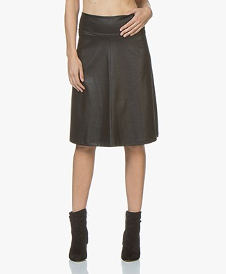 Kyra & Ko Lara A-line Skirt in Faux Craquele Leather - Black