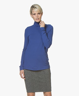 Kyra & Ko Lotte Jersey Tie Neck Long Sleeve - Cobalt