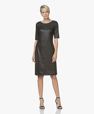 Kyra & Ko Maeve Dress in Faux Craquele Leather - Black