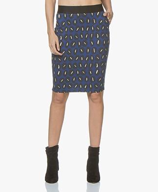 Kyra & Ko Malene Jersey Print Pencil Skirt - Cobalt