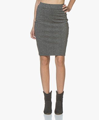 Kyra & Ko Olga Lurex Jersey Pencil Skirt - Grey