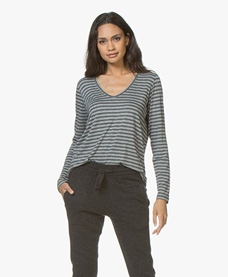 Majestic Filatures Viscose Striped V-neck Long Sleeve - Grey/Flanelle Melange