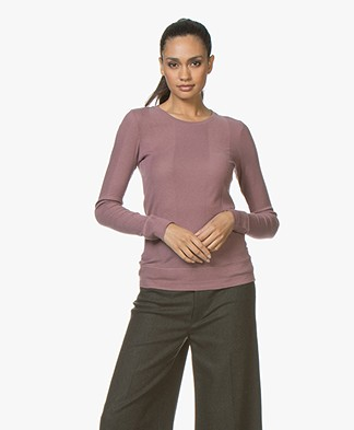 Majestic Filatures Cotton Blend Long Sleeve with Rib Structures - Bruyère