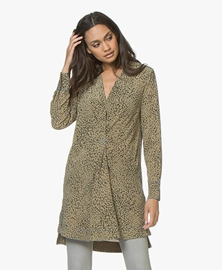 Rag & Bone Shields Silk Printed Tunic Dress - Olive Multi