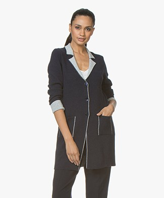 Belluna Cafe Knitted Blazer Cardigan - Navy/Ash