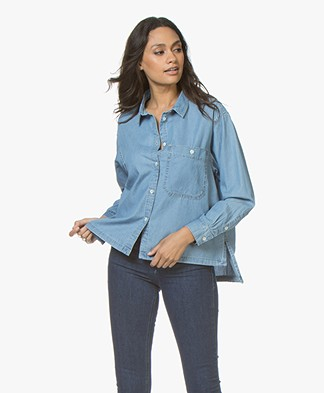 Closed Kati Denim Chambray Blouse - Light Blue Wash