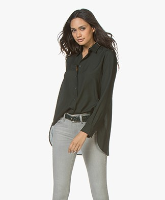 Filippa K High-Low Tencel Blouse - Dark Spruce