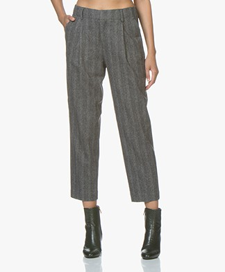 Filippa K Simone Cropped Pants - Grey Herringbone