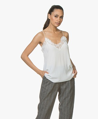 IRO Halisk Silk Camisole with Lace - Ecru