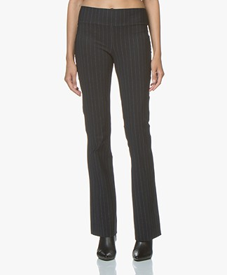 JapanTKY Yaza Flared Jersey Pants with Stripe Design - Black Denim