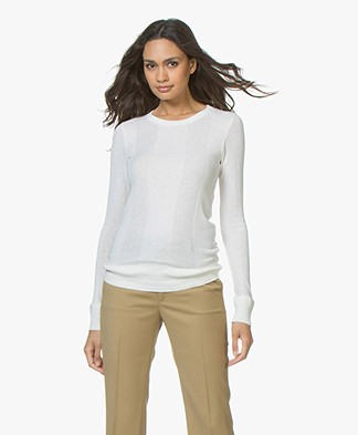 Majestic Cotton Blend Long Sleeve with Rib Structures - Milky White