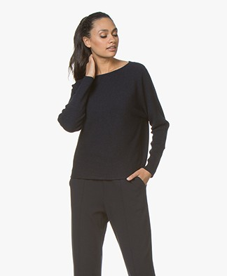 no man's land Ribgebreide Wollen Sweater - Dark Sapphire