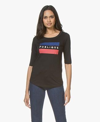 Plein Publique Le Drapeau Print T-shirt - Zwart