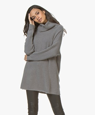 Repeat Cashmere Blend Oversized Turtleneck Sweater - Grey