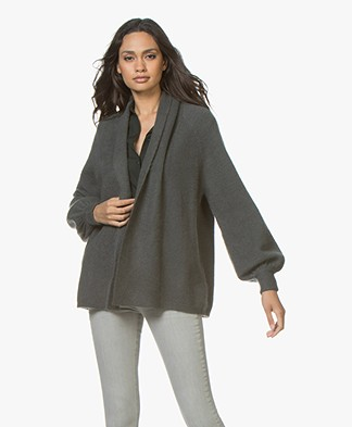 Repeat Mohair Blend Open Cardigan with Shawl Collar - Olive