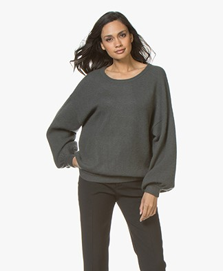 Repeat Mohair Blend Oversized Boatneck Sweater - Olive