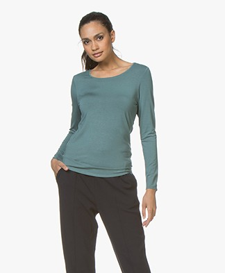 Repeat Viscose Longsleeve met Ronde Hals - Lake