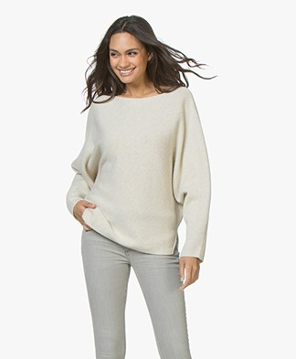 Vanessa Bruno Jess Wool Blend Sweater with Ribbon Closure - Light Beige