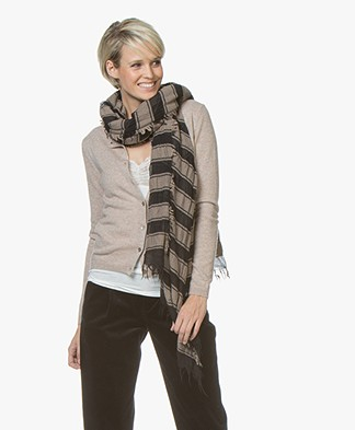 Pomandère Two-tone Scarf in Wool and Cashmere - Black/Taupe