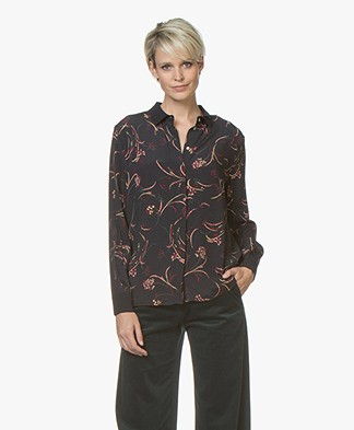 ba&sh Callas Print Blouse - Black/Burgundy