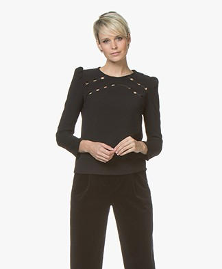 ba&sh Corus Blouse with Open Details - Black