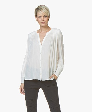 ba&sh Phil A-line Voile Blouse - Off White/Ecru