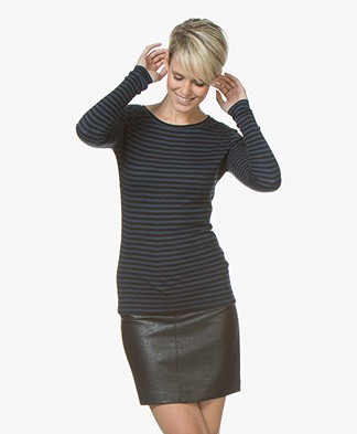 BY-BAR Basic Striped Viscose-Wool Long Sleeve - Blue/Black
