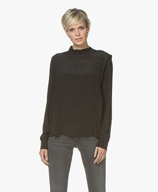 BY-BAR Mona Crepe Viscose Blouse - Black
