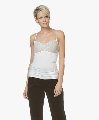 By Malene Birger Wasikio Spaghetti Top met Kant - Soft White