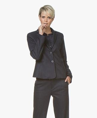 LaSalle Wool Blend Pinstripe Blazer - Navy