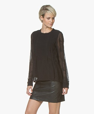indi & cold Blouse with Embroidery - Black