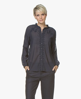 indi & cold Blouse with Embroidered Details - Marino