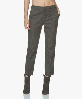 indi & cold Cropped Checkered Pants - Grey