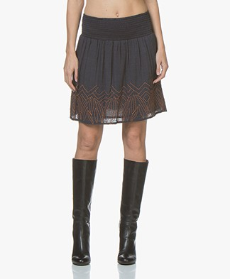 indi & cold Cotton Blend Embroidered Skirt - Marino