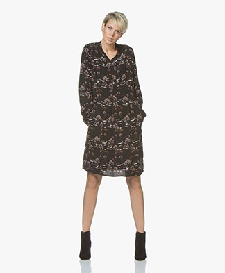 indi & cold Viscose Printed Dress - Black