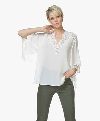IRO Hawlk Silk and Lace Blouse - Ecru