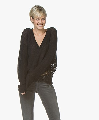 IRO Hysteria V-neck Sweater with Lace - Black
