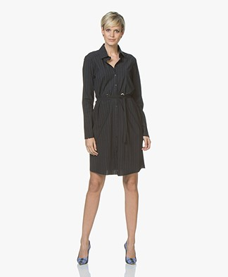 JapanTKY Gumen Travel Jersey Shirt Dress - Black/Denim Blue