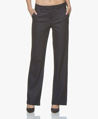 LaSalle Flared Pinstripe Jersey Pants - Navy