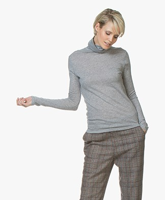 Majestic Filatures Eve Pure Cashmere Turtleneck T - Grey Melange