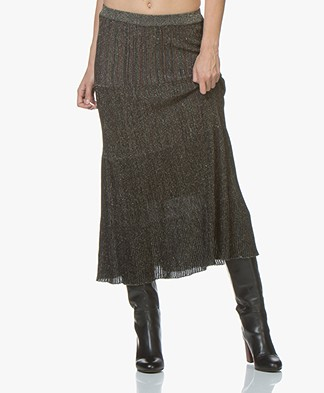 MKT Studio Jianico Rib Knitted Midi Skirt - Black