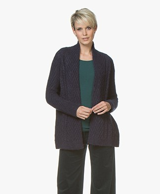 no man's land Open Cable Cardigan in Alpaca Blend - Dark Sapphire