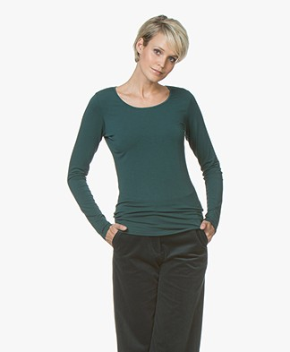 no man's land Viscose Round Neck Long Sleeve - Emerald