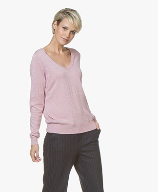 Repeat V-neck Pullover in Cotton and Viscose - Rose