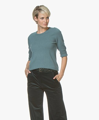 Repeat Cashmere Half Sleeve Pullover - Lake