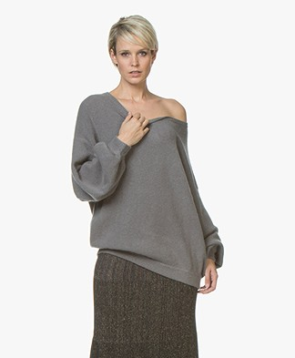 Repeat Mohair Blend Oversized Boatneck Sweater - Light Grey