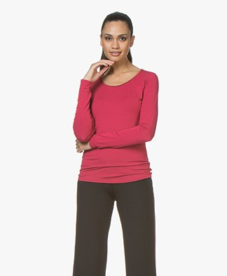 no man's land Viscose Round Neck Long Sleeve - Ruby